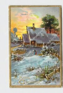 PPC-POSTCARD-MERRY-CHRISTMAS-SNOW-COVERED-LANDSCAPE-HOUSE-FIELD-EMBOSSED-TUCK-amp