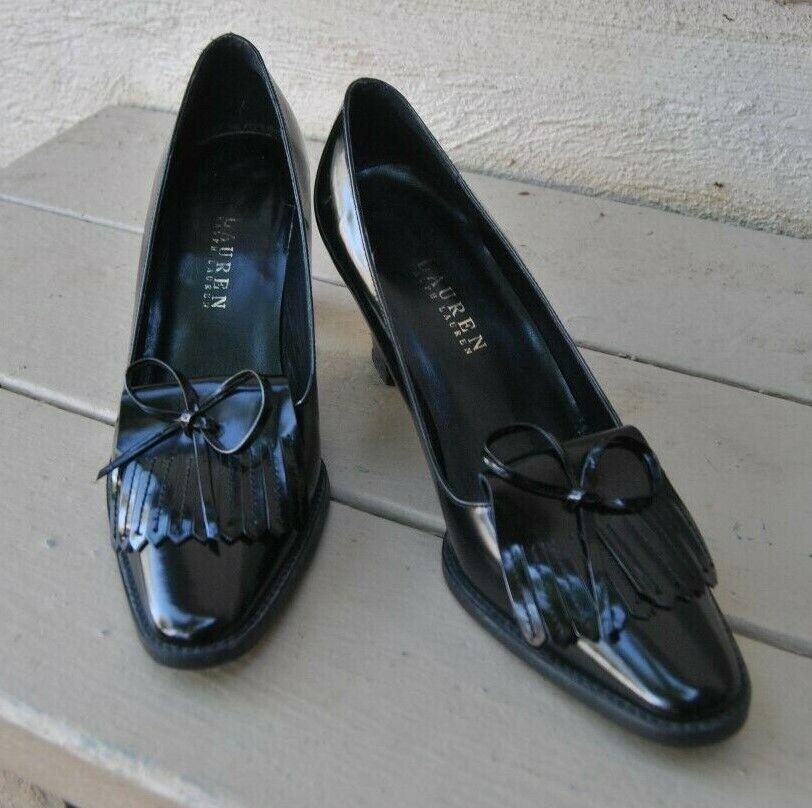 Ralph Lauren Cuir Mocassins Esvoiturepins Chaussure Talon Brillant en Cuir Noir Taille 8 M