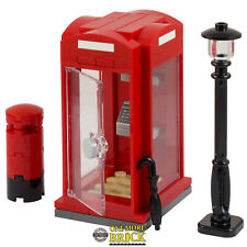 Telephone Box | Lamp Post Box & Umbrella British Red Phone | All parts LEGO