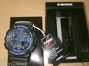 317fbd9164cd GA-100-1A2 Black Blue G-shock Casio Watches 200m Resin Band Analog ...