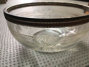 Ancienne coupe en cristal taillé, cerclée en Métal Argenté , Baccarat?