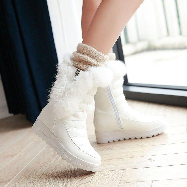 Fashion Womens Winter Fur Furry Round Toe Wedge Mid Heels Mid Calf Snow Boots