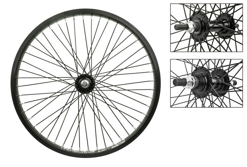 New 20 x 1.75 bolt on Blk 48 spoke FF single speed FW alloy wheel set