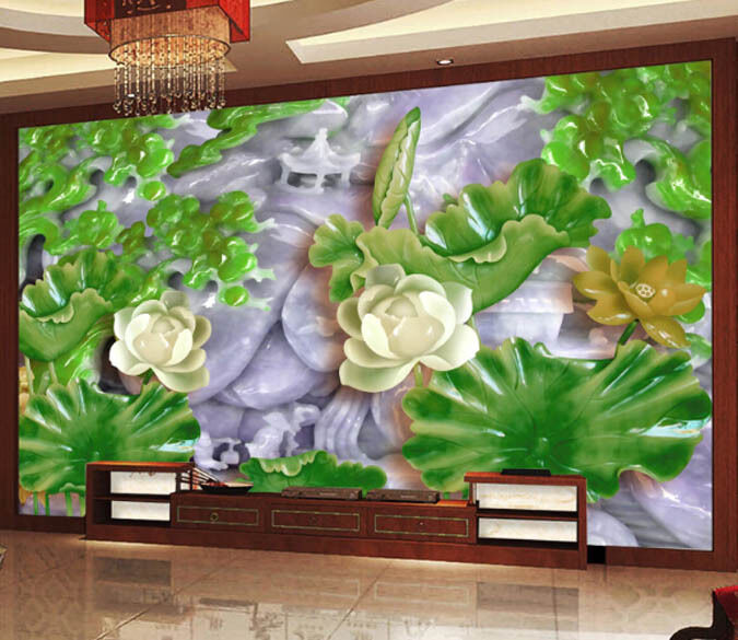 3D Jade Lotus Leaf 1 Paper Wall Print Decal Wall Wall Murals AJ WALLPAPER GB