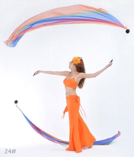 New Belly Dance Gradient Color Veil Poi 1 Set 2 Veils+2 Balls+2 Chain 31 color