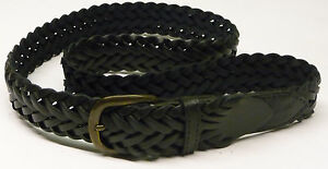 "LEATHER BELT MENS VERY STYLISH PLAITED BLACK - METAL BUCKLE 32""-36"" - BRAND NEW"