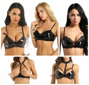 Sexy-Leather-Bra-Women-Punk-Lingerie-PVC-Rubber-Bra-Top-Open-Nipple-Bralette-Bra