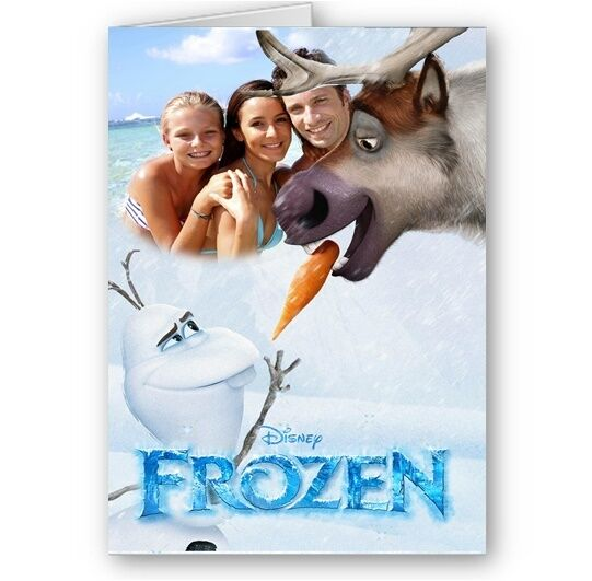 Personalised Photo Disney Frozen Olaf & Sven Birthday Christmas Card with poster