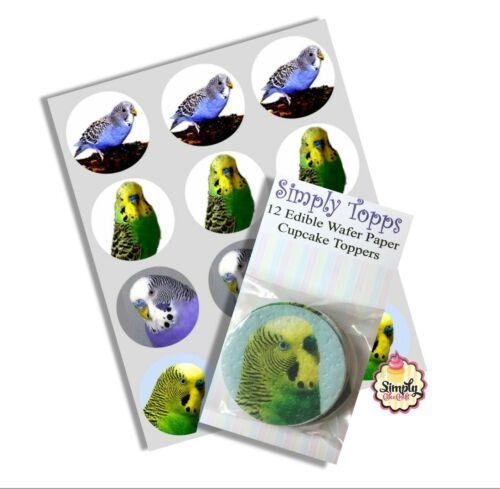 Cupcake Toppers Budgie pré-découpé Comestible Papier de riz gâteau décoration 40 mm x 12