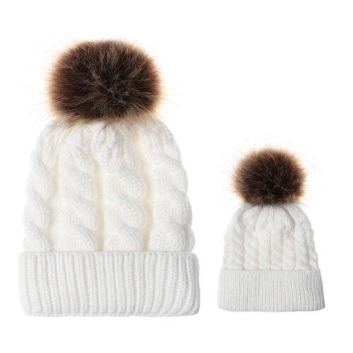 Femmes Enfants Bébé Enfant Chaud Hiver Tricot Beanie fur pom Pompon Chapeau Crochet Ski Cap