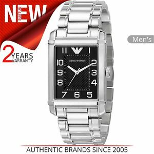 63a1900a135 Image is loading Emporio-Armani-Men-039-s-Watch-Rectangle-Black-