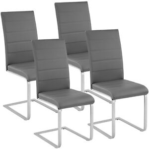 4x-Esszimmerstuhl-Freischwinger-Stuhl-Set-Stuehle-Polsterstuhl-Schwingstuhl-grau