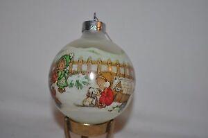 vintage GLASS BETSEY CLARK 1989 HALLMARK CHRISTMAS ORNAMENT & box USA made