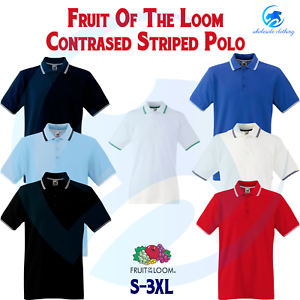FRUIT-OF-THE-LOOM-Men-039-s-Tipped-Polo-Contrast-Neck-Tape-Cuff-Pure-Cotton-Polo-Top