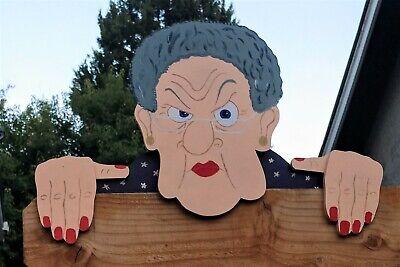 Grumpy Old Lady Fence Peeker Yard Art Garden Gag Gift Nosy Neighbor | eBay