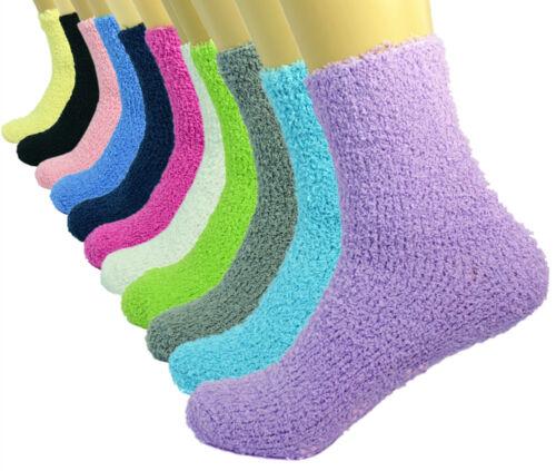 3-10 Pairs Womens Non-Skid Cozy Fuzzy Solid Soft Winter Warm Slipper Socks 9-11