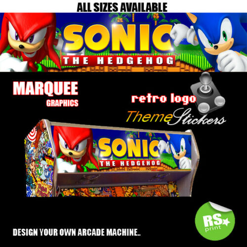 Sonic Arcade Marquee Artwork Stickers Graphic Laminated All Sizes