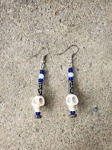 womens handmade metal earrings with skull deep & deep blue crystals