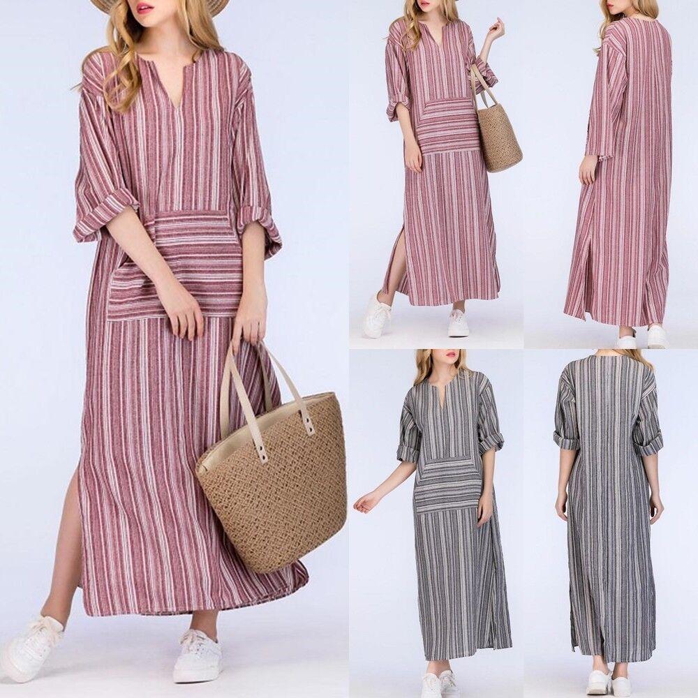 Womens Stripe Casual Linen Baggy Loose V-neck Long Maxi Kaftan Dress Plus Size