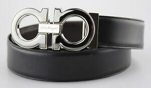 fc33a3f294 Men s SALVATORE FERRAGAMO  Reversible  Black Brown Leather Belt ...
