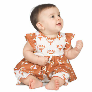Baby-Girls-University-Of-Texas-UT-Longhorns-Frilly-Infant-Jumpsuit-NB-24m
