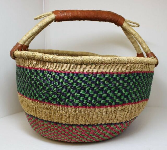 LARGE WOVEN MULTI-COLOR BASKET WITH LEATHER HANDLE