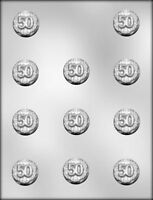 50th Celebration Round Bite Size Chocolate Candy Mold Party Favor Cupcake Topper