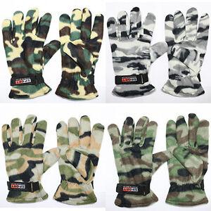 Fleece Thermal military camo Glove Adjust Wrist Strap camping ski Tactical New