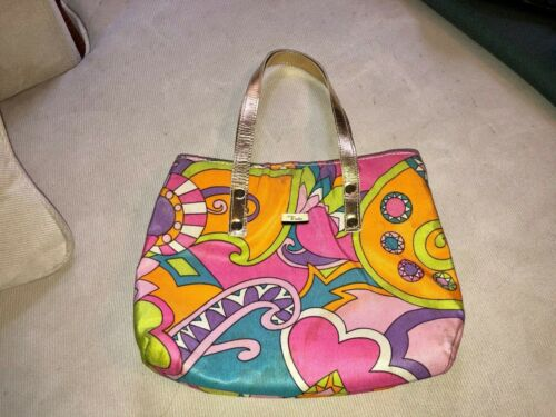 Vintage Emilio Pucci Multicolored Purse Bag w/ gol