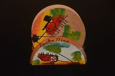 """5 Hand Painted Costa Rica Coasters With Holder ~ WOOD ~ 3"""""""