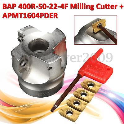 BAP 400R-50-22 50MM 4 Flute Face Milling Cutter End Mill + 4x APMT1604 Inserts