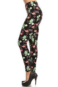 Women/'s Plus Flamingo Cactus Pattern Printed Leggings