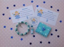 Blue Tooth Fairy Kit - Bracelet,Fairy Dust, Tooth pouch, sticker and poem cards