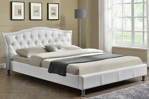 Modern-Designer-White-Faux-Leather-Bed-Frame-Tufted-Headboard-Double-King-Size