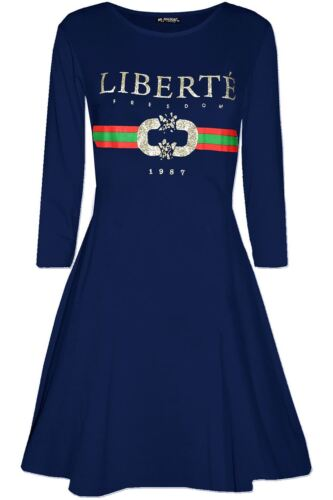Womens Ladies Liberte Print Jersey Long Sleeve Party Skater Flared Swing Dresses
