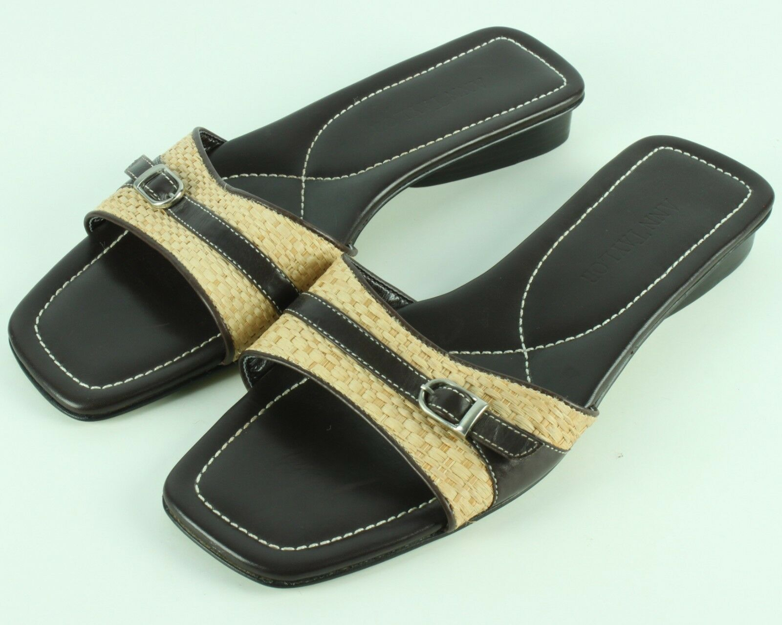 Ann Taylor 8M Womens Slides Dandals shoes Rattan Brown Leather Brazil Sandles