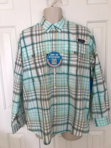 NEW COLUMBIA Men's PFG SUPER BAHAMA LONG SLEEVE SHIRT Blue Plaid 005