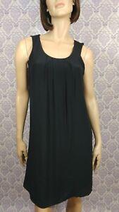 Woolrich-Silk-Shift-Dress-Womens-Size-Small-Black-Sleeveless-Jersey-Lined