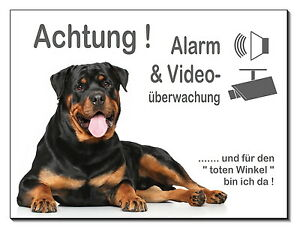 Schilder & Plaketten Rottweiler-hund-aluminium-alarm+video-schild-3 Größen-türschild-warnschild Ungleiche Leistung
