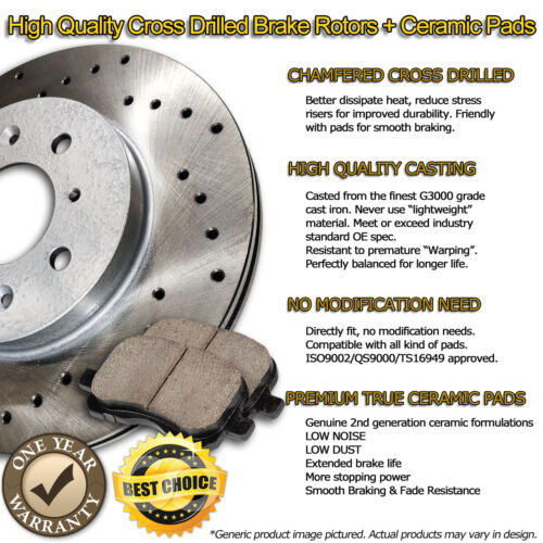 C1164 FRONT+REAR Drilled Brake Rotors Ceramic Pad FOR 2014 2015 2016 Sierra 1500