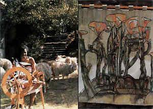 SWASILAND-Afrika-Africa-Post-Card-Swaziland-Native-Girl-Frau-am-Spinnrad-color