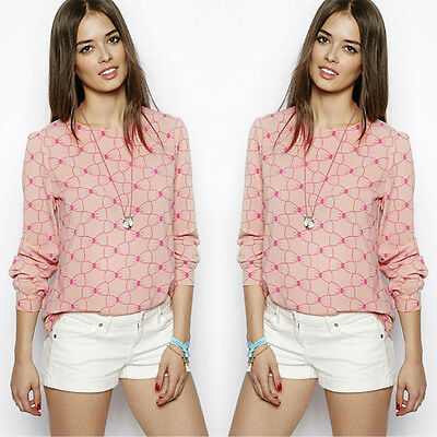 Fashion Women's Bowknot Pink Loose Chiffon Tops Long Sleeve Shirt Casual Blouse
