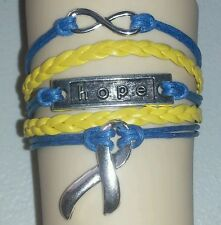 DOWN SYNDROME AWARENESS,HOPE,INFINITY,LEATHER ADJUSTABLE BRACELET-YELLOW/BLUE#42