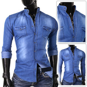 715afaa45bc Light Mens Denim Shirt Blue Jeans Slim Fit Grandad Collar Mandarine ...