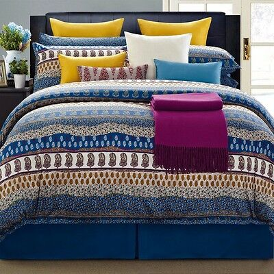 8 Piece EverRouge Blue Yellow White Pink Aladdin Cotton Comforter Set, King