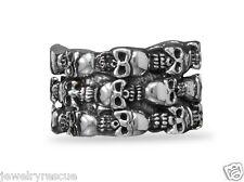 Sterling Silver Triple Row Skull Ring Size 8 HEAVY HUGE Biker Harley 22.5g NEW