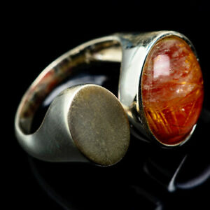 Rutilated-Quartz-925-Sterling-Silver-Ring-Size-7-Adjustable-Jewelry-R18208F