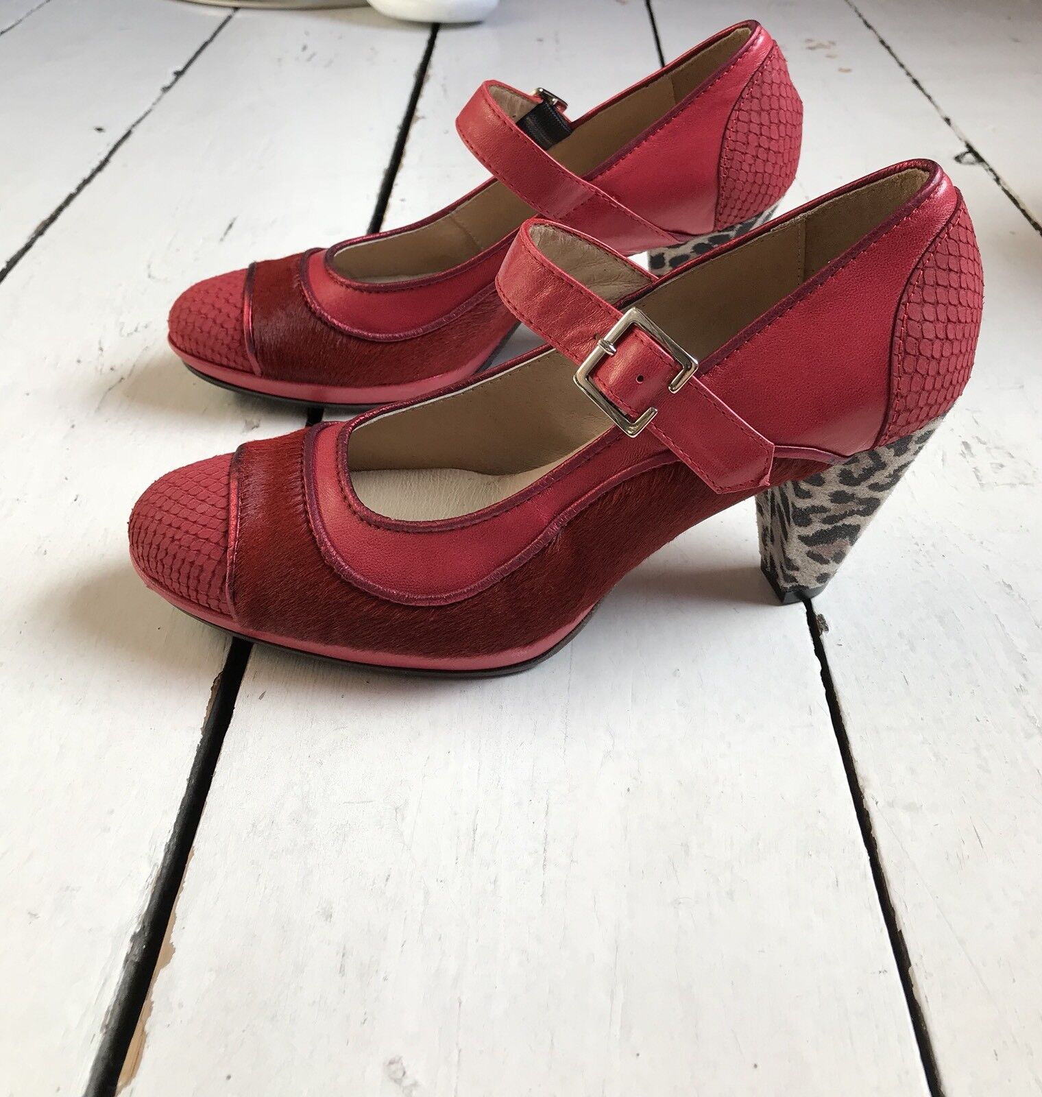 Eva & Claudi ROT Calf Hair Mary Jane Schuhes with 38 Leopard Print Heel EU 38 with UK 5 022229