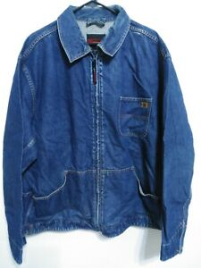 Riggs-Workwear-by-Wrangler-Mens-Size-XXL-Dark-Wash-Full-Zip-Denim-Jean-Jacket