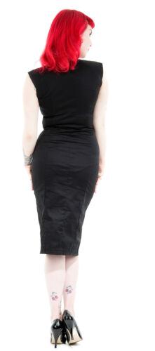 Detail Wiggle Dress 50's 8 40's Black Dita Classic Pleat Pencil 18 Red New Vtg t8Sq1n